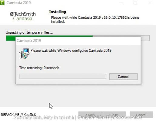 Đợi phần mềm Camtasia 2019 Full Crack cài đặt hoàn tất