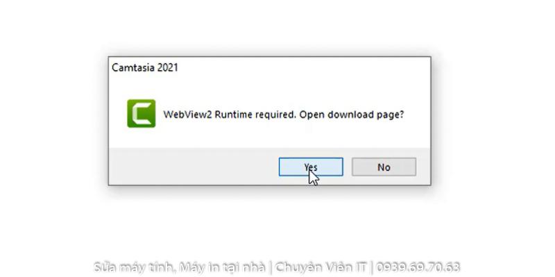 Chọn Yes để tải WebView2