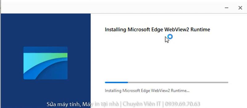 Đợi cài đặt phần mềm WebView2