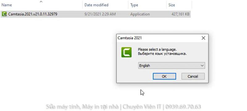 chạy phần mềm Camtasia 2021 sau đó nhấn OK