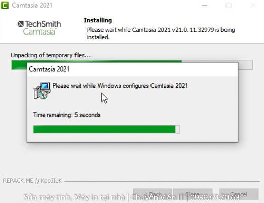 Đợi phần mềm Camtasia 2021 Full Crack cài đặt hoàn tất